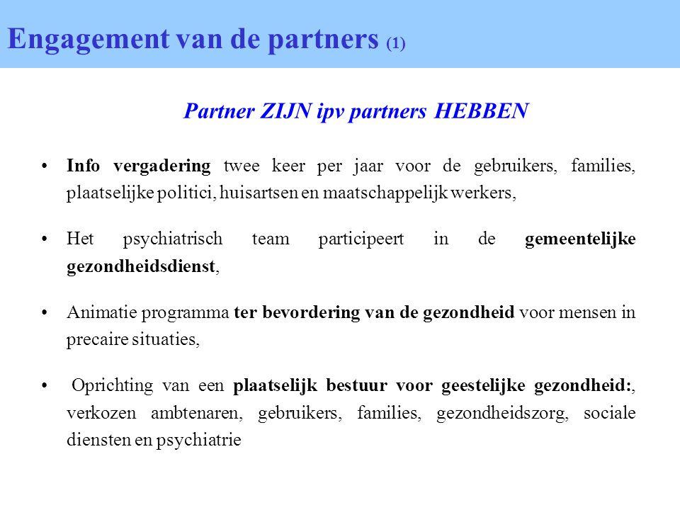 Engagement van de partners (1) Info vergadering twee keer per jaar voor de gebruikers, families, plaatselijke politici, huisartsen en maatschappelijk
