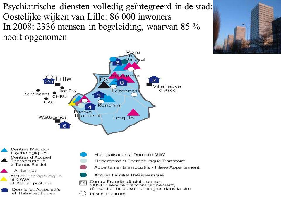 Psychiatrische diensten volledig geïntegreerd in de stad: Oostelijke wijken van Lille: 86 000 inwoners In 2008: 2336 mensen in begeleiding, waarvan 85