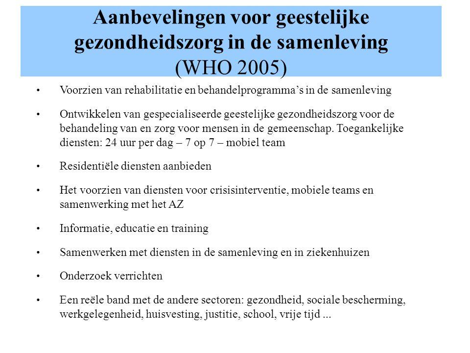 Aanbevelingen voor geestelijke gezondheidszorg in de samenleving (WHO 2005) Voorzien van rehabilitatie en behandelprogramma's in de samenleving Ontwik