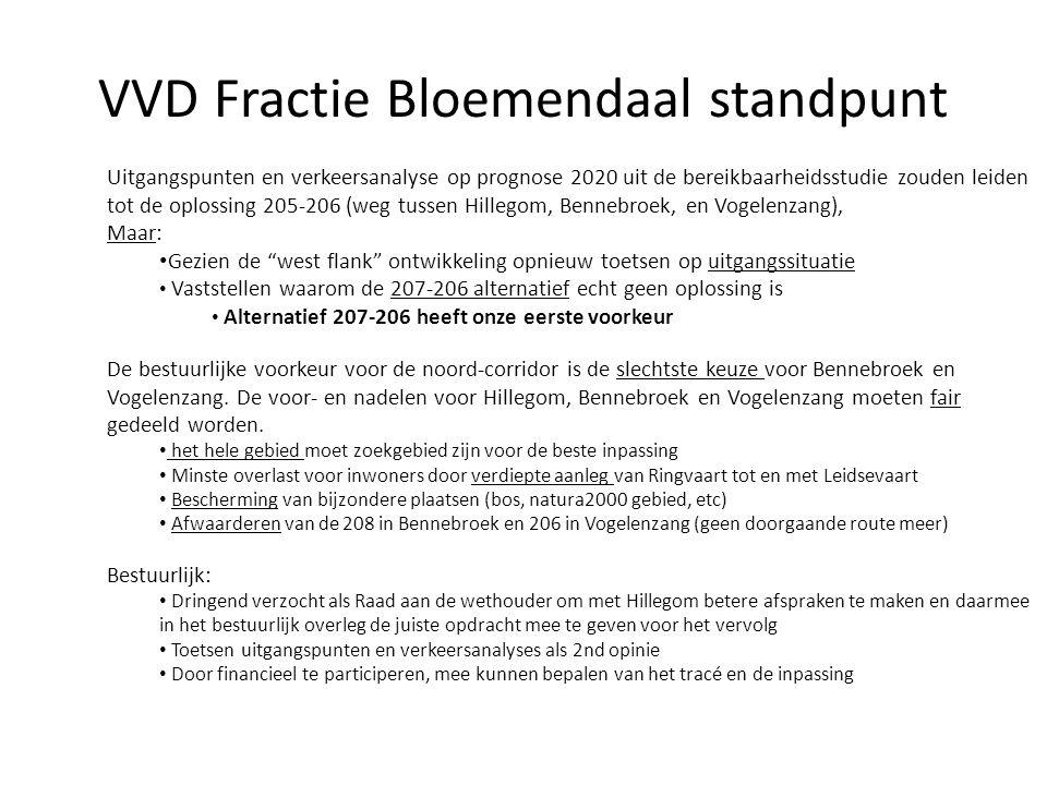 VVD Fractie Bloemendaal standpunt Uitgangspunten en verkeersanalyse op prognose 2020 uit de bereikbaarheidsstudie zouden leiden tot de oplossing 205-2