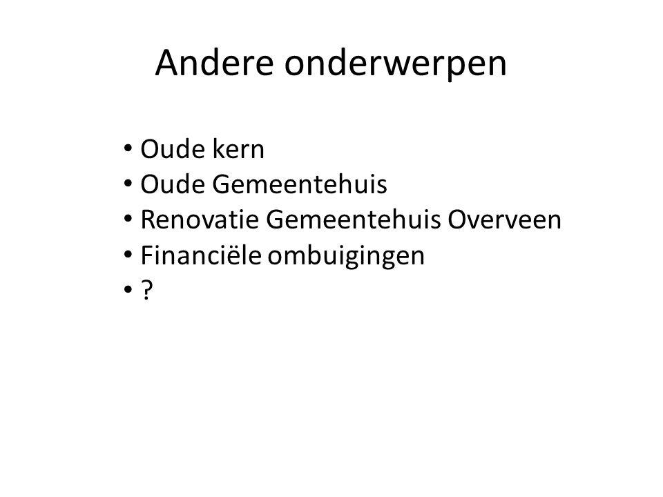 Andere onderwerpen Oude kern Oude Gemeentehuis Renovatie Gemeentehuis Overveen Financiële ombuigingen ?