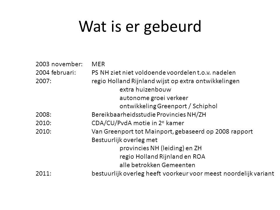 Wat is er gebeurd 2003 november:MER 2004 februari:PS NH ziet niet voldoende voordelen t.o.v. nadelen 2007:regio Holland Rijnland wijst op extra ontwik