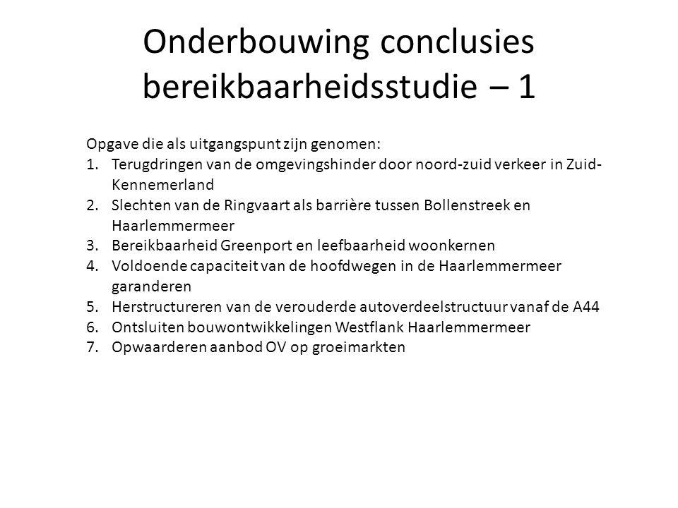 Onderbouwing conclusies bereikbaarheidsstudie – 1 Opgave die als uitgangspunt zijn genomen: 1.Terugdringen van de omgevingshinder door noord-zuid verk