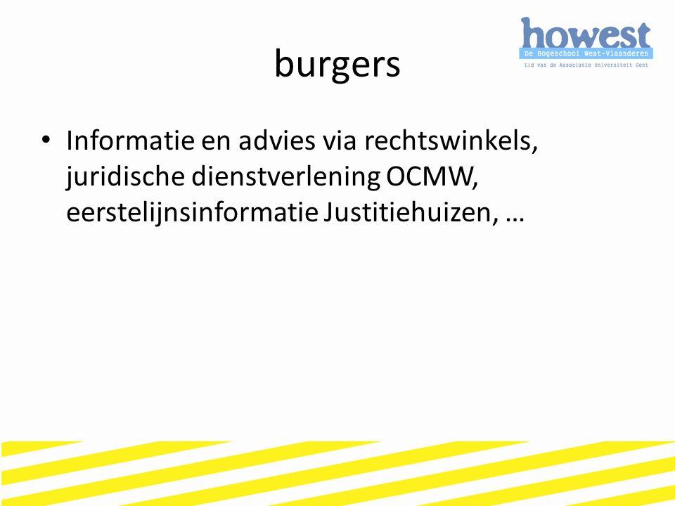 burgers Informatie en advies via rechtswinkels, juridische dienstverlening OCMW, eerstelijnsinformatie Justitiehuizen, …