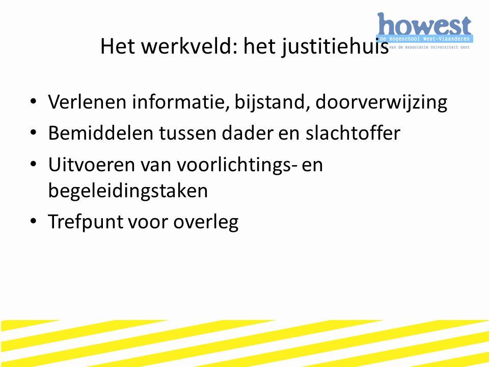 Het werkveld: het justitiehuis Verlenen informatie, bijstand, doorverwijzing Bemiddelen tussen dader en slachtoffer Uitvoeren van voorlichtings- en be