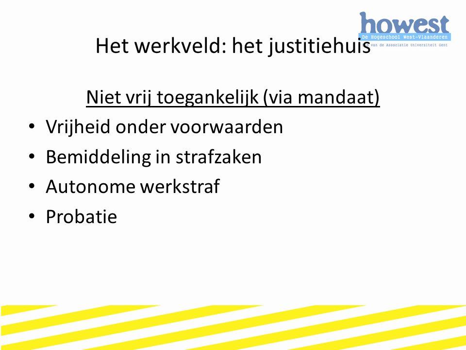 Het werkveld: het justitiehuis Niet vrij toegankelijk (via mandaat) Vrijheid onder voorwaarden Bemiddeling in strafzaken Autonome werkstraf Probatie