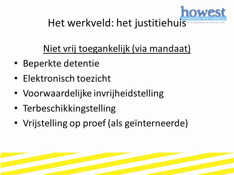Het werkveld: het justitiehuis Niet vrij toegankelijk (via mandaat) Beperkte detentie Elektronisch toezicht Voorwaardelijke invrijheidstelling Terbesc