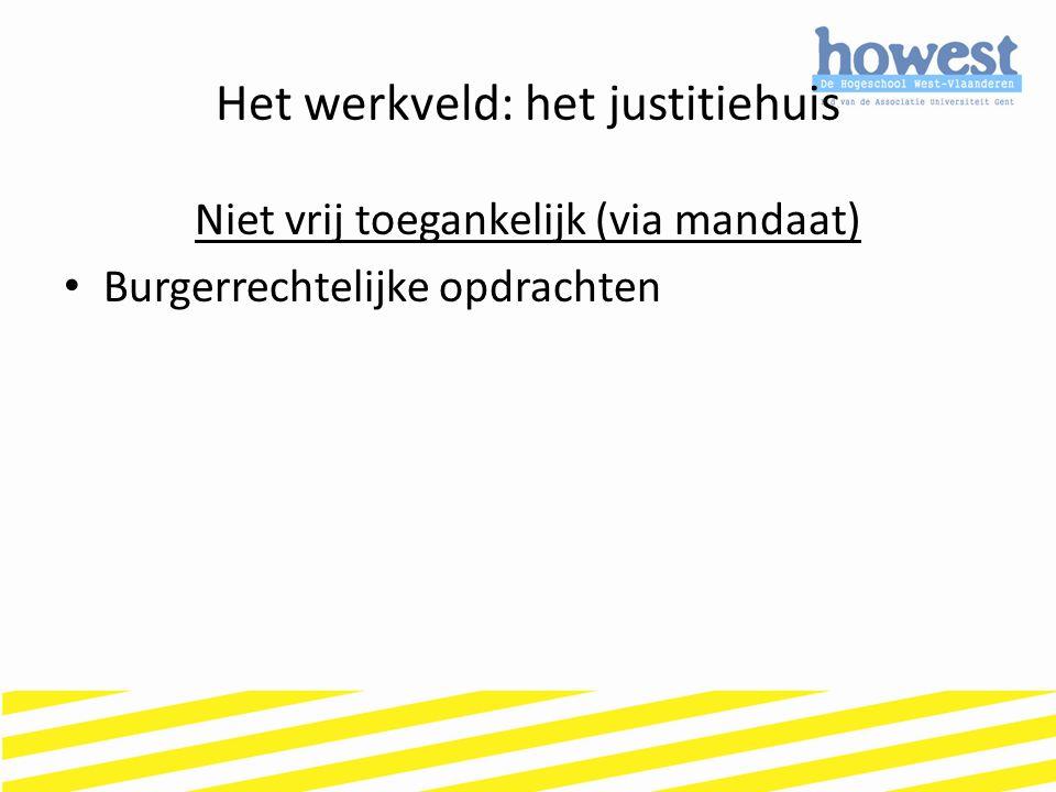 Het werkveld: het justitiehuis Niet vrij toegankelijk (via mandaat) Burgerrechtelijke opdrachten