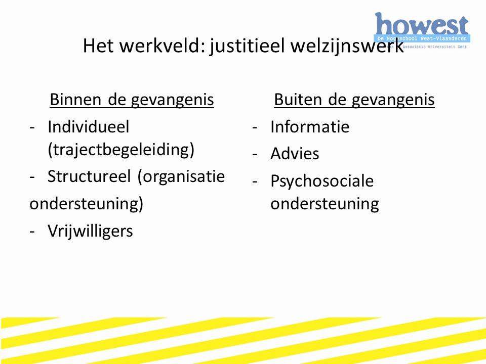 Het werkveld: justitieel welzijnswerk Binnen de gevangenis -Individueel (trajectbegeleiding) -Structureel (organisatie ondersteuning) -Vrijwilligers B