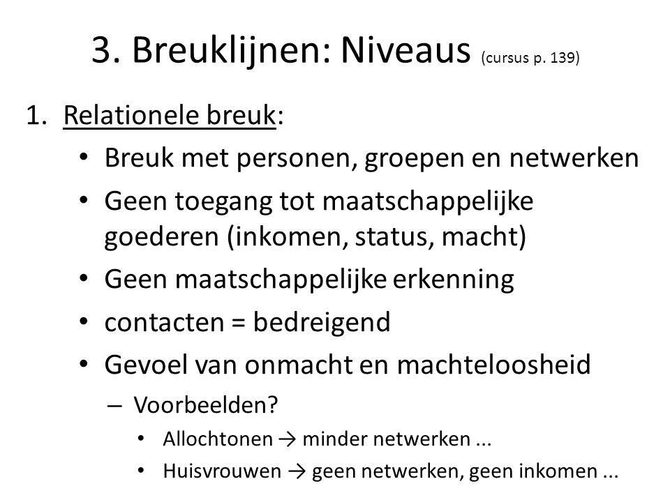 3. Breuklijnen: Niveaus (cursus p. 139) 1.Relationele breuk: Breuk met personen, groepen en netwerken Geen toegang tot maatschappelijke goederen (inko