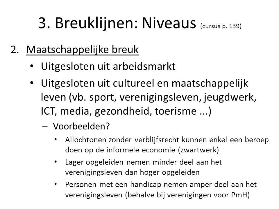 3. Breuklijnen: Niveaus (cursus p. 139) 2.Maatschappelijke breuk Uitgesloten uit arbeidsmarkt Uitgesloten uit cultureel en maatschappelijk leven (vb.