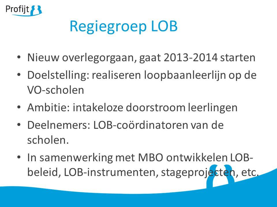 Regiegroep LOB Nieuw overlegorgaan, gaat 2013-2014 starten Doelstelling: realiseren loopbaanleerlijn op de VO-scholen Ambitie: intakeloze doorstroom leerlingen Deelnemers: LOB-coördinatoren van de scholen.