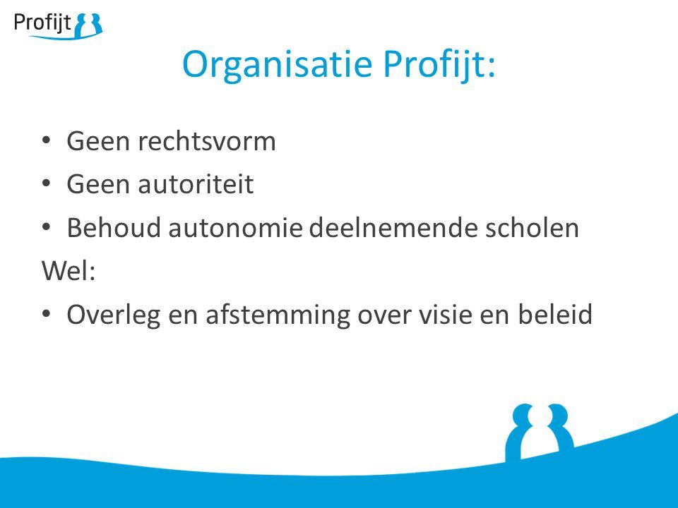 Organisatie Profijt: Geen rechtsvorm Geen autoriteit Behoud autonomie deelnemende scholen Wel: Overleg en afstemming over visie en beleid