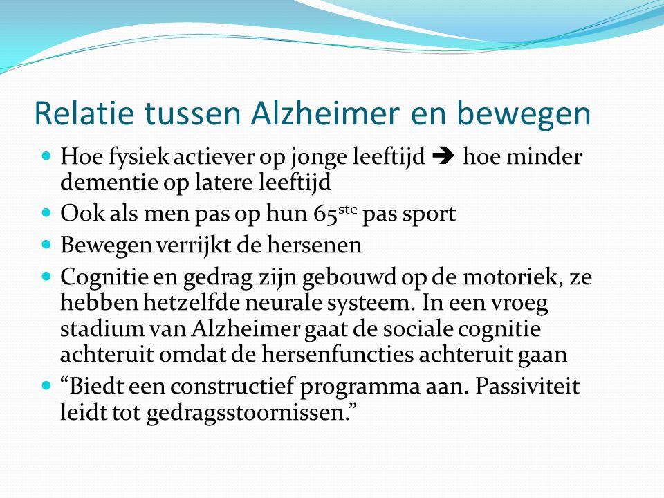 Relatie tussen Alzheimer en bewegen Hoe fysiek actiever op jonge leeftijd  hoe minder dementie op latere leeftijd Ook als men pas op hun 65 ste pas s