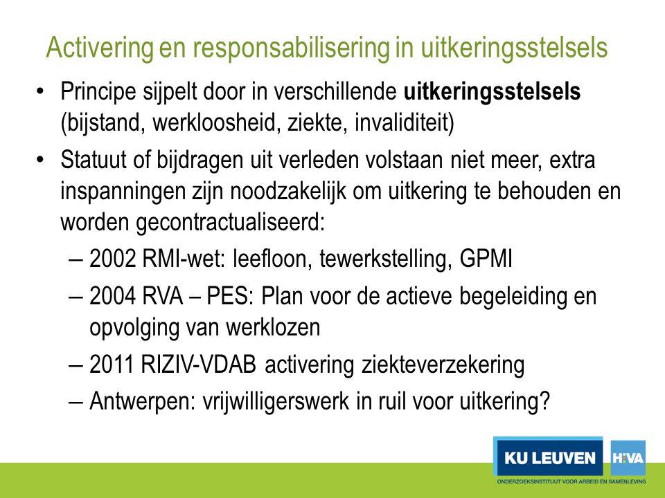 Activering en responsabilisering in uitkeringsstelsels Principe sijpelt door in verschillende uitkeringsstelsels (bijstand, werkloosheid, ziekte, invaliditeit) Statuut of bijdragen uit verleden volstaan niet meer, extra inspanningen zijn noodzakelijk om uitkering te behouden en worden gecontractualiseerd: – 2002 RMI-wet: leefloon, tewerkstelling, GPMI – 2004 RVA – PES: Plan voor de actieve begeleiding en opvolging van werklozen – 2011 RIZIV-VDAB activering ziekteverzekering – Antwerpen: vrijwilligerswerk in ruil voor uitkering?