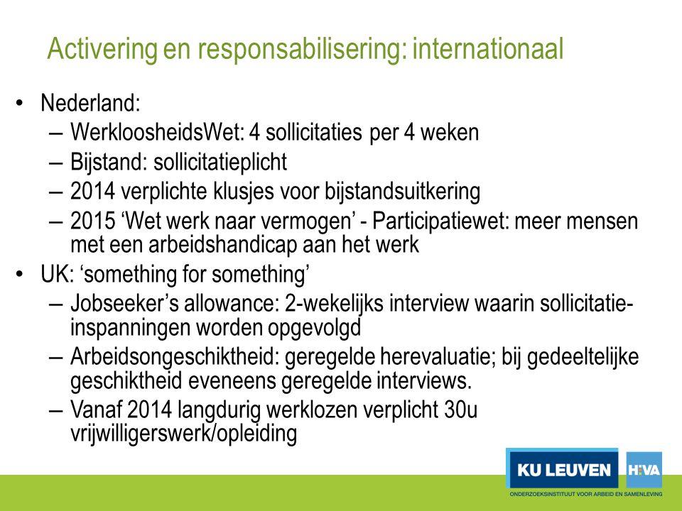 Activering en responsabilisering: internationaal Nederland: – WerkloosheidsWet: 4 sollicitaties per 4 weken – Bijstand: sollicitatieplicht – 2014 verplichte klusjes voor bijstandsuitkering – 2015 'Wet werk naar vermogen' - Participatiewet: meer mensen met een arbeidshandicap aan het werk UK: 'something for something' – Jobseeker's allowance: 2-wekelijks interview waarin sollicitatie- inspanningen worden opgevolgd – Arbeidsongeschiktheid: geregelde herevaluatie; bij gedeeltelijke geschiktheid eveneens geregelde interviews.