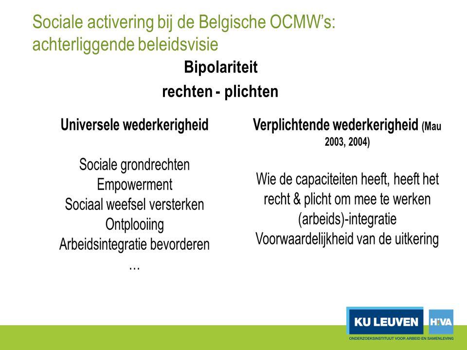 Sociale activering bij de Belgische OCMW's: achterliggende beleidsvisie Bipolariteit rechten - plichten