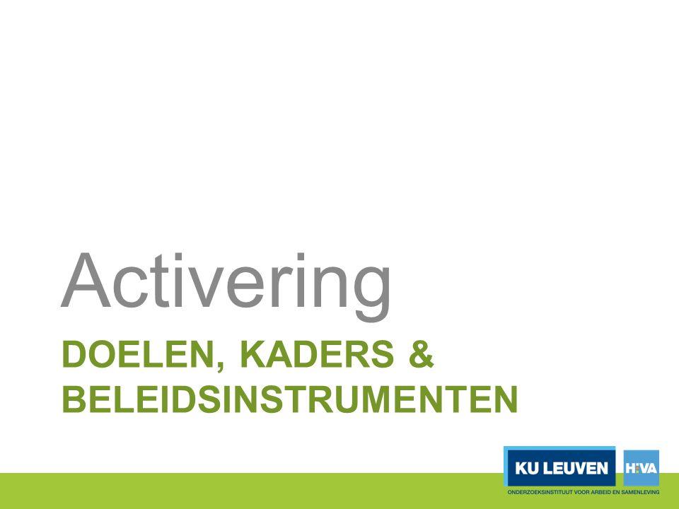 DOELEN, KADERS & BELEIDSINSTRUMENTEN Activering