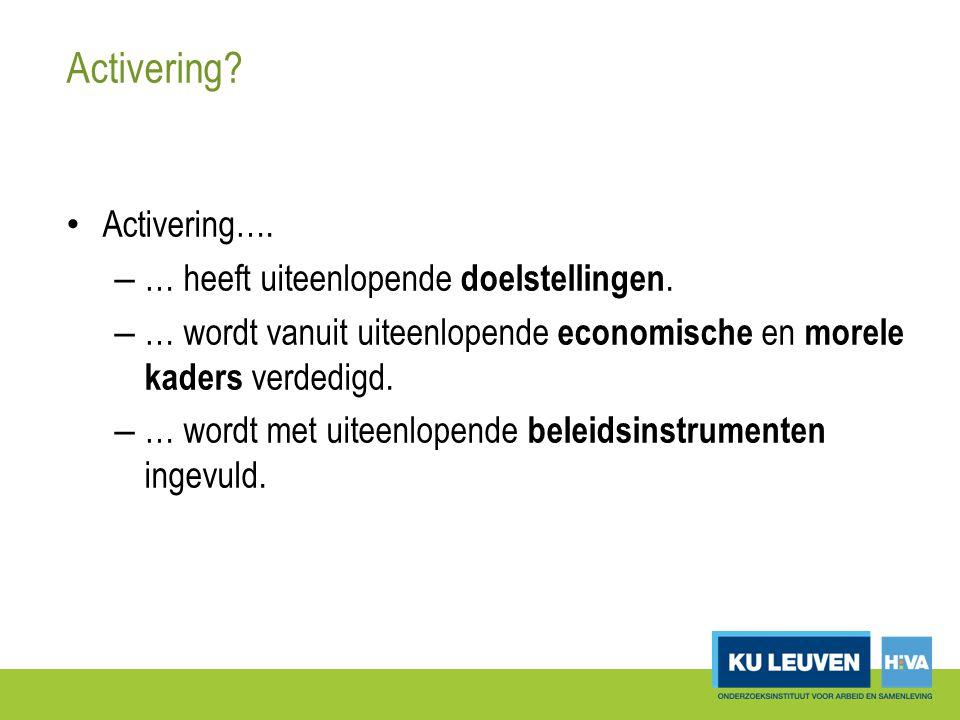 Sociale activering bij de Belgische OCMW's: invulling Type activiteiten Algemeen (%) (N=234) Brussel (%) (N=8) Vlaanderen (%) (N=140) Wallonië (%) (N=86) Socio-culturele en recreatieve activiteiten 79,5100,076,482,6 Vrijetijdstoelages52,175,062,932,6 Vrijwilligerswerk45,712,562,920,9 Vorming / opleidingen (niet ifv professionele inschakeling) 43,662,547,136,1 Kennismaking met sport(clubs)/jeugdbeweging 42,775,048,630,2 Workshops 35,062,517,161,6 Praatgroepen25,637,518,636,1 Cliënt participatiegroepen17,525,017,916,3 Wijkgerichte groepswerking9,825,010,08,1 Tewerkstelling (i.k.v.
