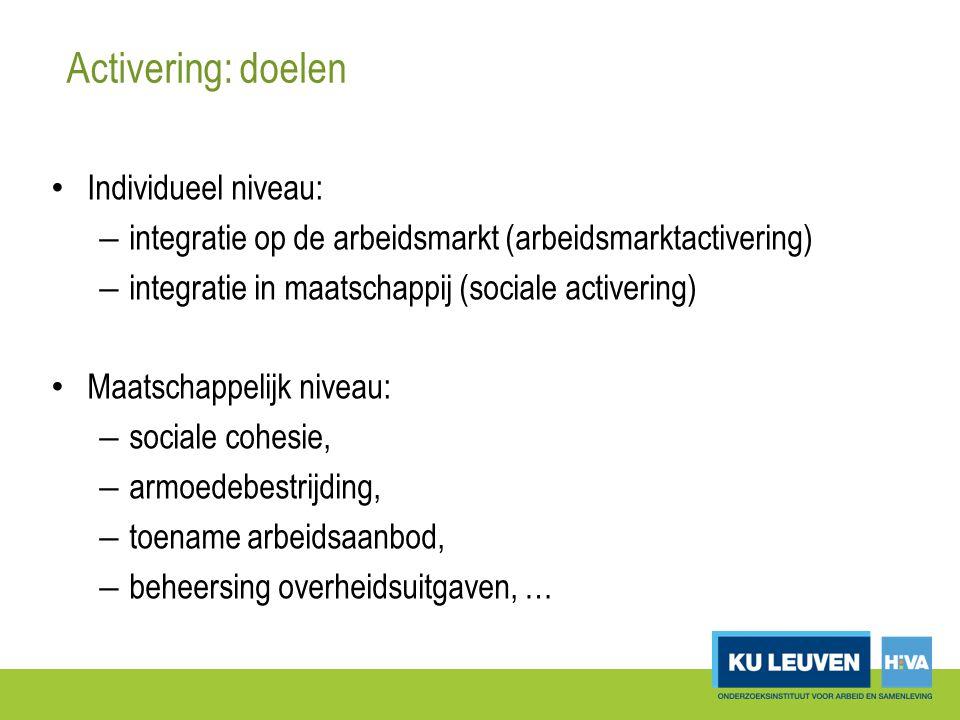 Activering: doelen Individueel niveau: – integratie op de arbeidsmarkt (arbeidsmarktactivering) – integratie in maatschappij (sociale activering) Maatschappelijk niveau: – sociale cohesie, – armoedebestrijding, – toename arbeidsaanbod, – beheersing overheidsuitgaven, …