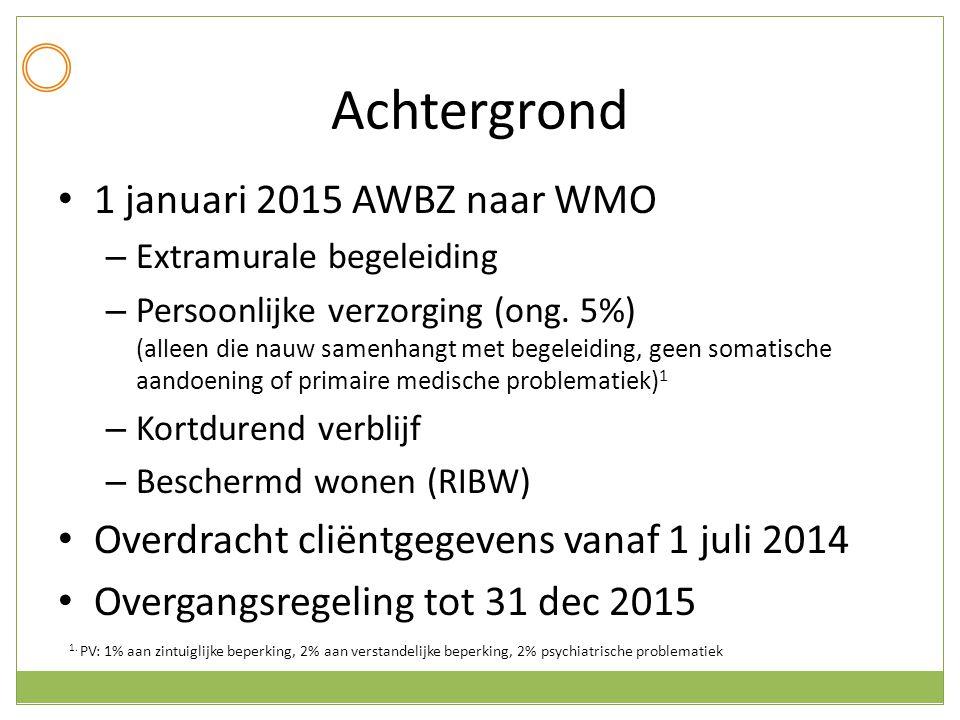 Achtergrond 1 januari 2015 AWBZ naar WMO – Extramurale begeleiding – Persoonlijke verzorging (ong. 5%) (alleen die nauw samenhangt met begeleiding, ge