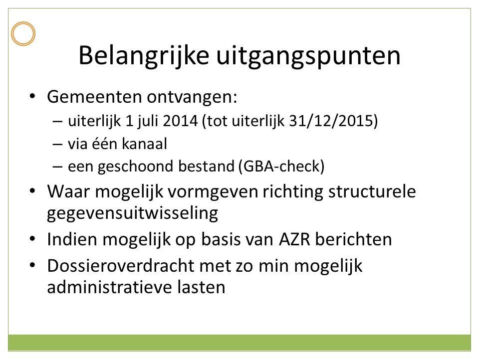 Belangrijke uitgangspunten Gemeenten ontvangen: – uiterlijk 1 juli 2014 (tot uiterlijk 31/12/2015) – via één kanaal – een geschoond bestand (GBA-check