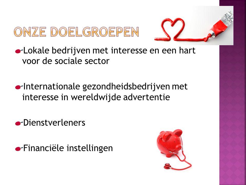 Lokale bedrijven met interesse en een hart voor de sociale sector Internationale gezondheidsbedrijven met interesse in wereldwijde advertentie Dienstverleners Financiële instellingen
