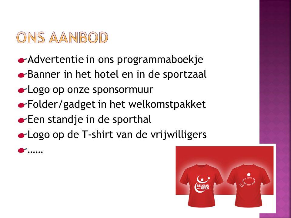 Advertentie in ons programmaboekje Banner in het hotel en in de sportzaal Logo op onze sponsormuur Folder/gadget in het welkomstpakket Een standje in de sporthal Logo op de T-shirt van de vrijwilligers ……