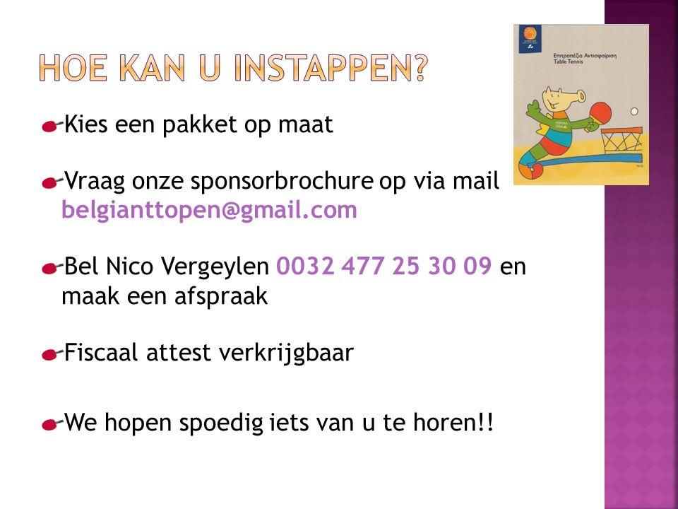 Kies een pakket op maat Vraag onze sponsorbrochure op via mail belgianttopen@gmail.com Bel Nico Vergeylen 0032 477 25 30 09 en maak een afspraak Fiscaal attest verkrijgbaar We hopen spoedig iets van u te horen!!