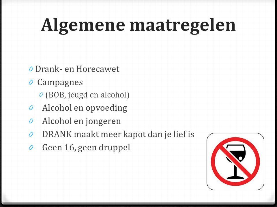 Algemene maatregelen 0 Drank- en Horecawet 0 Campagnes 0 (BOB, jeugd en alcohol) 0 Alcohol en opvoeding 0 Alcohol en jongeren 0 DRANK maakt meer kapot dan je lief is 0 Geen 16, geen druppel