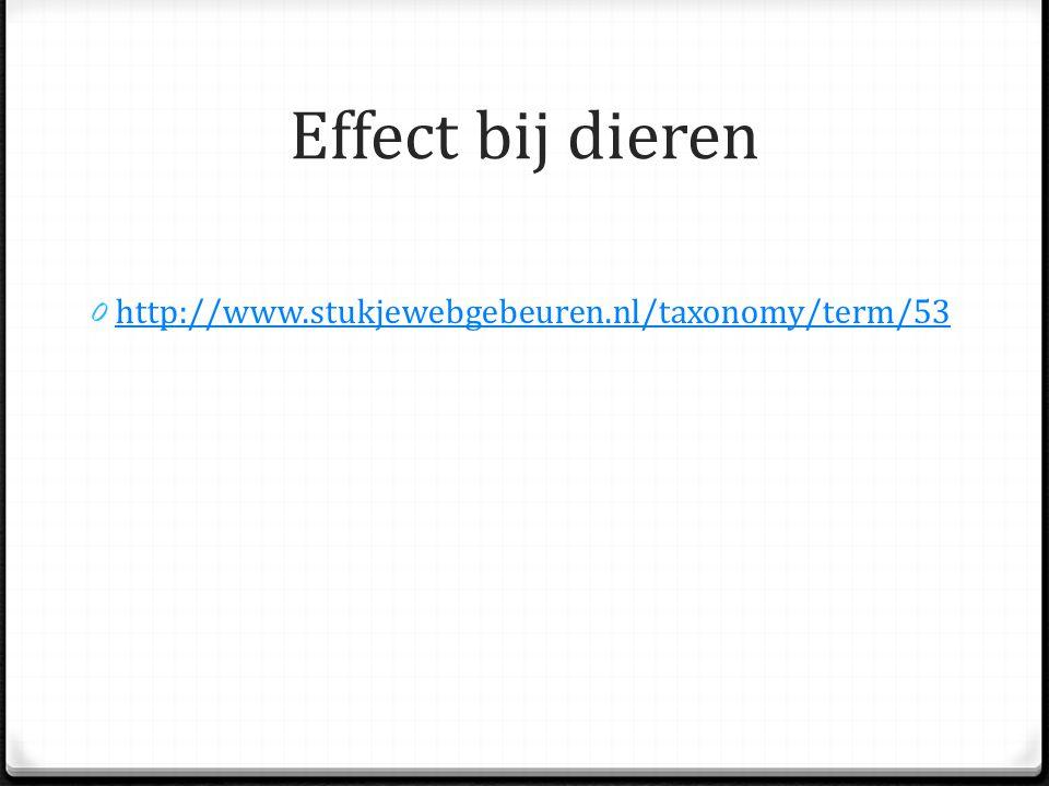 Effect bij dieren 0 http://www.stukjewebgebeuren.nl/taxonomy/term/53 http://www.stukjewebgebeuren.nl/taxonomy/term/53