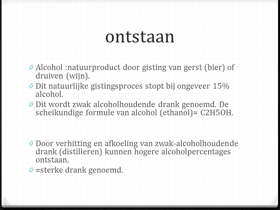 ontstaan 0 Alcohol :natuurproduct door gisting van gerst (bier) of druiven (wijn).