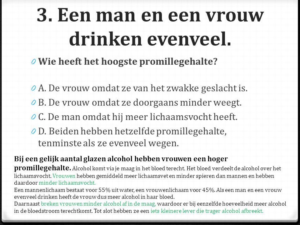 3.Een man en een vrouw drinken evenveel. 0 Wie heeft het hoogste promillegehalte.