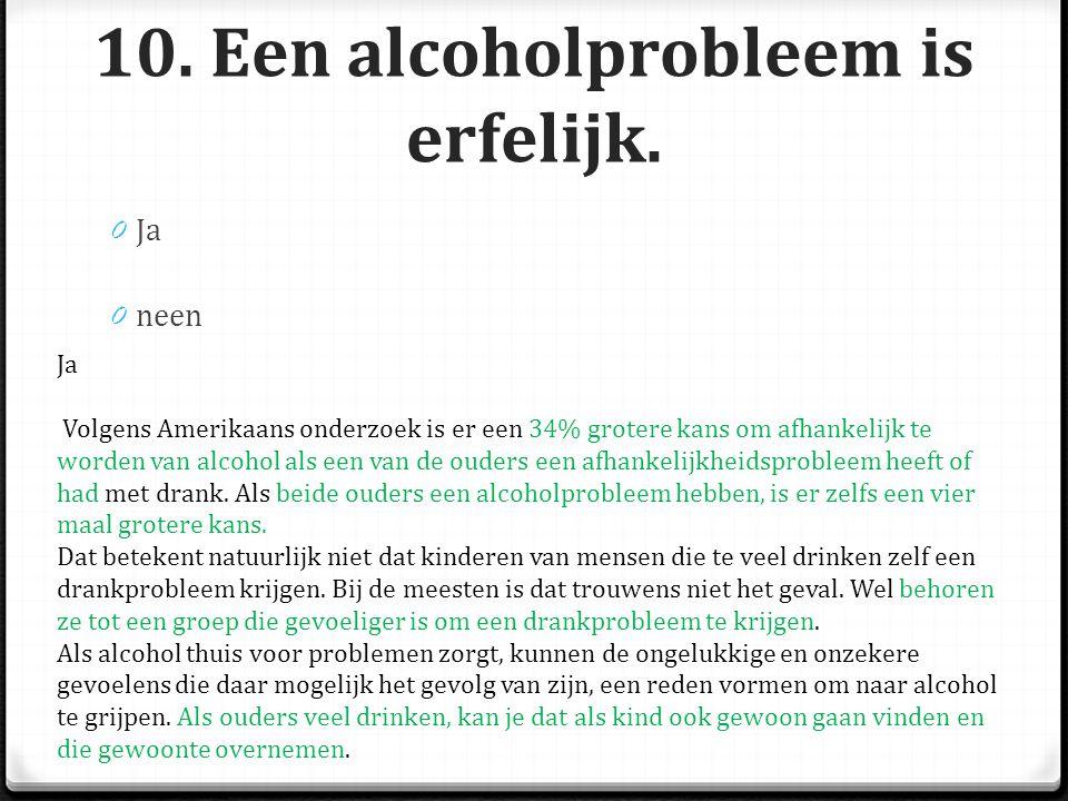 10.Een alcoholprobleem is erfelijk.