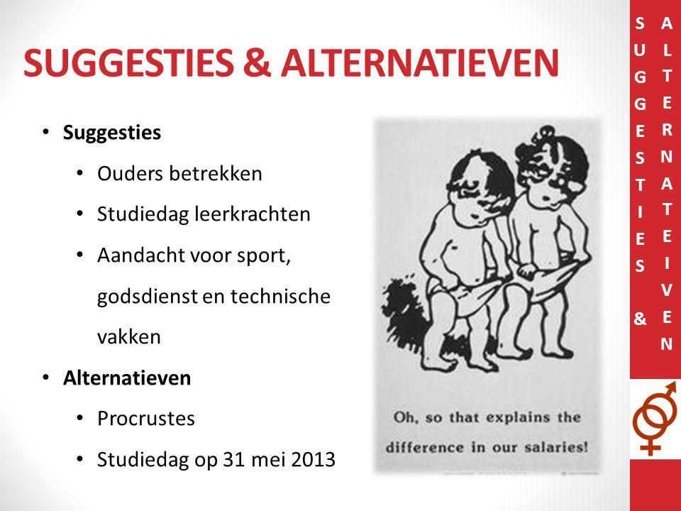 SUGGESTIES & ALTERNATIEVEN Suggesties Ouders betrekken Studiedag leerkrachten Aandacht voor sport, godsdienst en technische vakken Alternatieven Procrustes Studiedag op 31 mei 2013