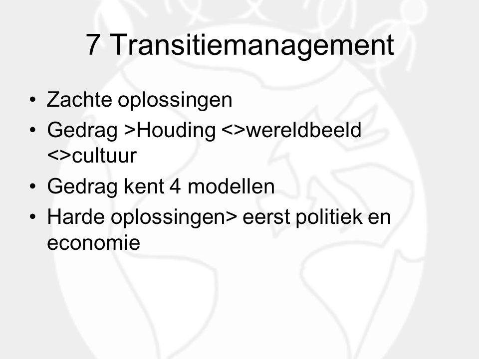 7 Transitiemanagement Zachte oplossingen Gedrag >Houding <>wereldbeeld <>cultuur Gedrag kent 4 modellen Harde oplossingen> eerst politiek en economie