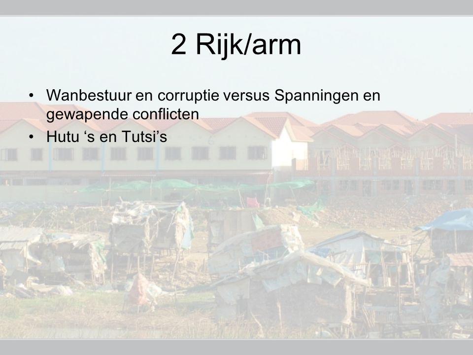 2 Rijk/arm Wanbestuur en corruptie versus Spanningen en gewapende conflicten Hutu 's en Tutsi's