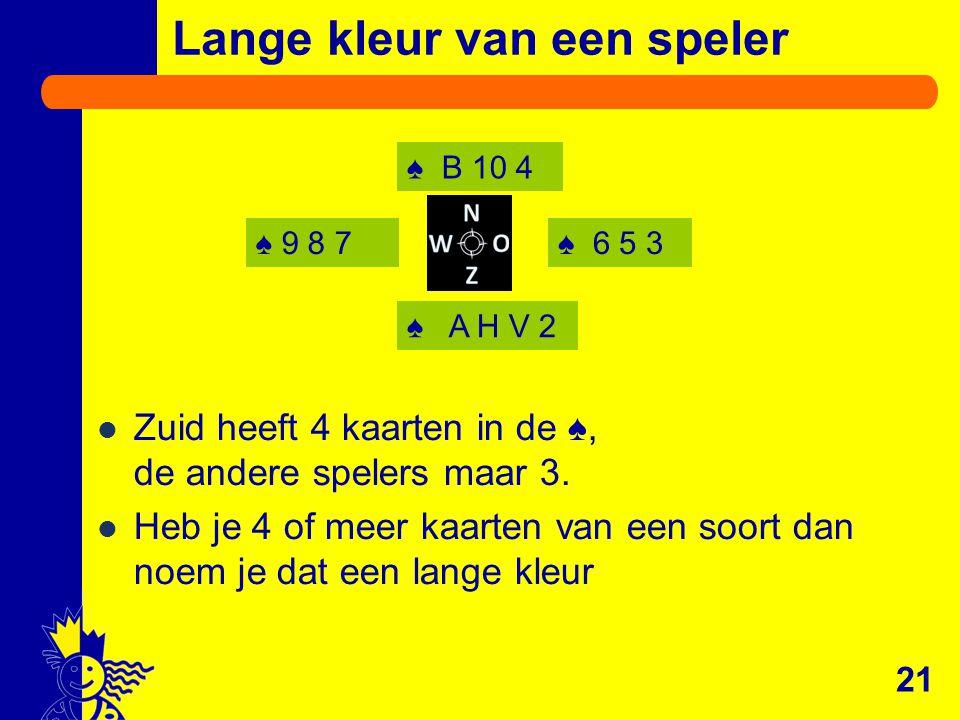 ♠ 9 8 7♠ 6 5 3 ♠ B 10 4 ♠ A H V 2 21 Lange kleur van een speler Zuid heeft 4 kaarten in de ♠, de andere spelers maar 3. Heb je 4 of meer kaarten van e