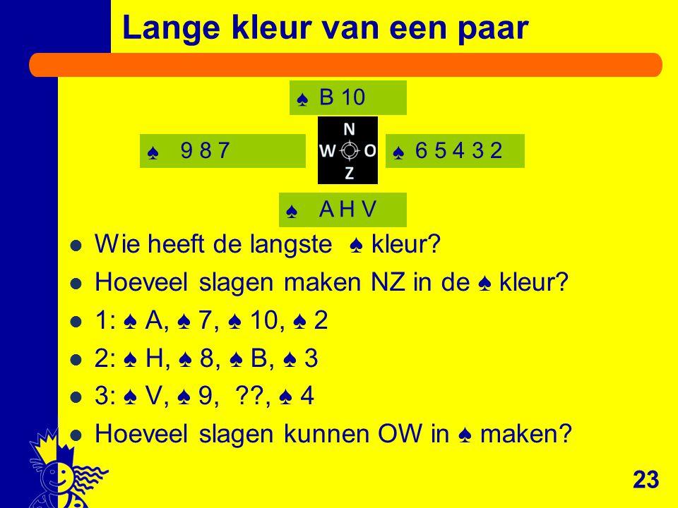 ♠♠ ♠ ♠ Lange kleur van een paar Wie heeft de langste ♠ kleur? Hoeveel slagen maken NZ in de ♠ kleur? 1: ♠ A, ♠ 7, ♠ 10, ♠ 2 2: ♠ H, ♠ 8, ♠ B, ♠ 3 3: ♠