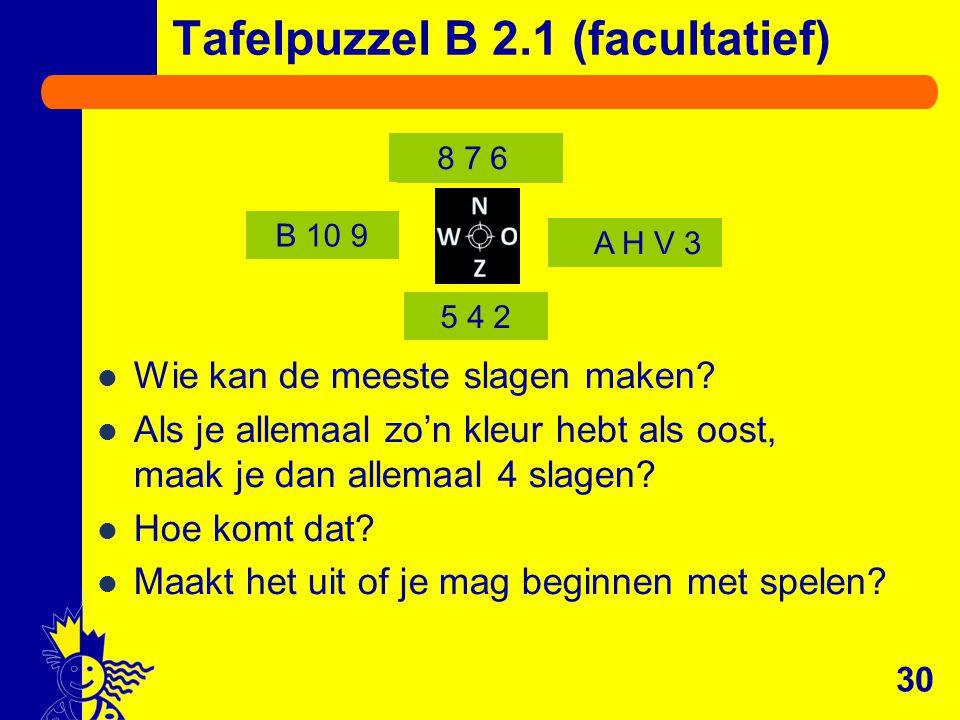 B 10 9 5 4 2 8 7 6 A H V 3 Tafelpuzzel B 2.1 (facultatief) Wie kan de meeste slagen maken? Als je allemaal zo'n kleur hebt als oost, maak je dan allem