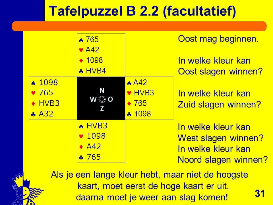 31 Als je een lange kleur hebt, maar niet de hoogste kaart, moet eerst de hoge kaart er uit,  765 A42  1098  HVB4  1098 765  HVB3  A32  A42 HVB