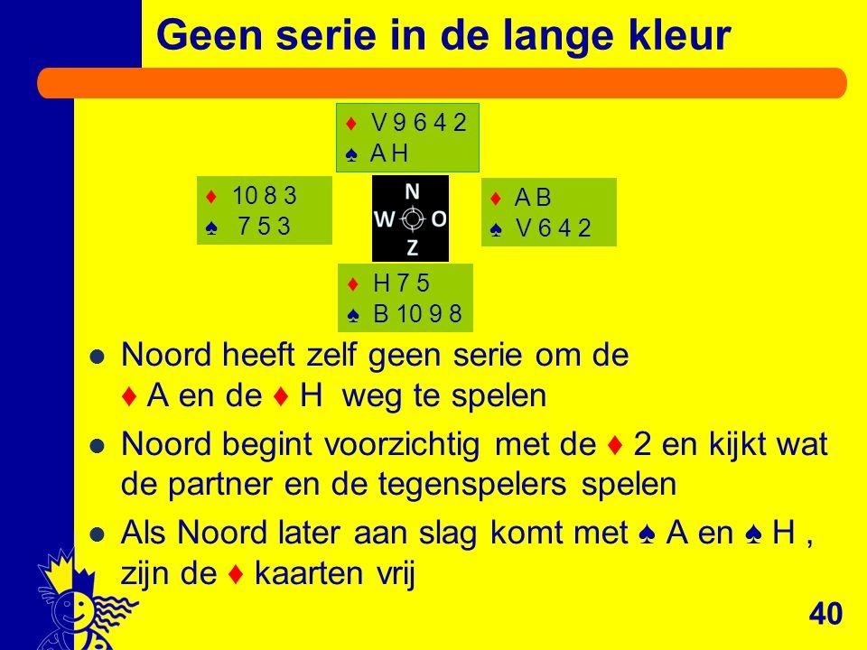 Geen serie in de lange kleur Noord heeft zelf geen serie om de ♦ A en de ♦ H weg te spelen Noord begint voorzichtig met de ♦ 2 en kijkt wat de partner