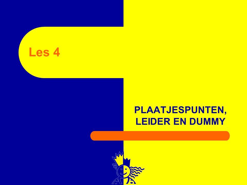 PLAATJESPUNTEN, LEIDER EN DUMMY Les 4