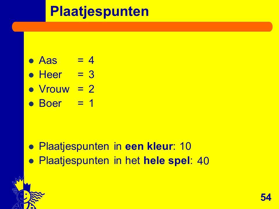 Aas=4 Heer=3 Vrouw=2 Boer=1 Plaatjespunten in een kleur: Plaatjespunten in het hele spel: 54 Plaatjespunten 10 40