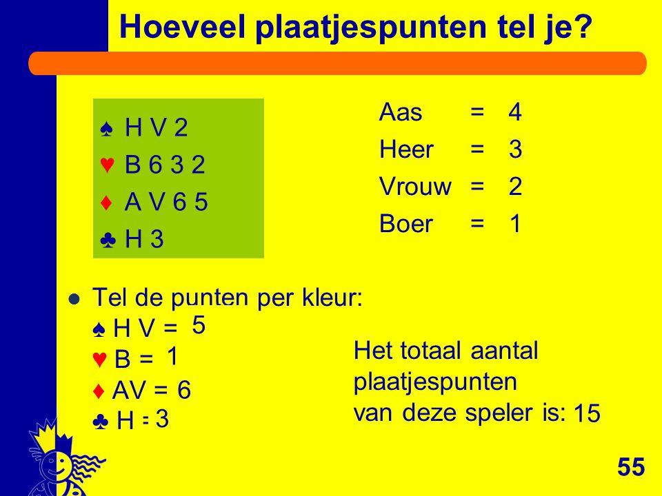 Aas=4 Heer=3 Vrouw=2 Boer=1 Tel de punten per kleur: ♠ H V = … ♥ B = … ♦ AV = … ♣ H = … Het totaal aantal plaatjespunten van deze speler is: … Hoeveel