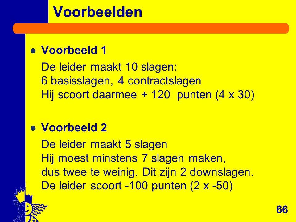 Voorbeelden 66 Voorbeeld 1 De leider maakt 10 slagen: 6 basisslagen, 4 contractslagen Hij scoort daarmee + 120 punten (4 x 30) Voorbeeld 2 De leider m