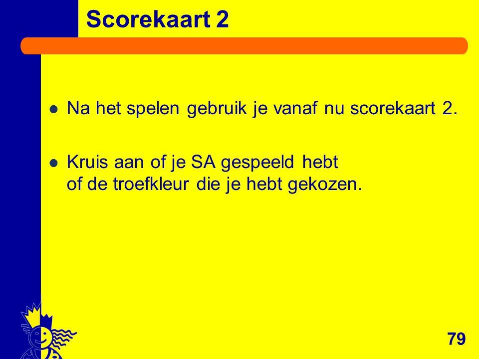 Na het spelen gebruik je vanaf nu scorekaart 2. Kruis aan of je SA gespeeld hebt of de troefkleur die je hebt gekozen. Scorekaart 2 79