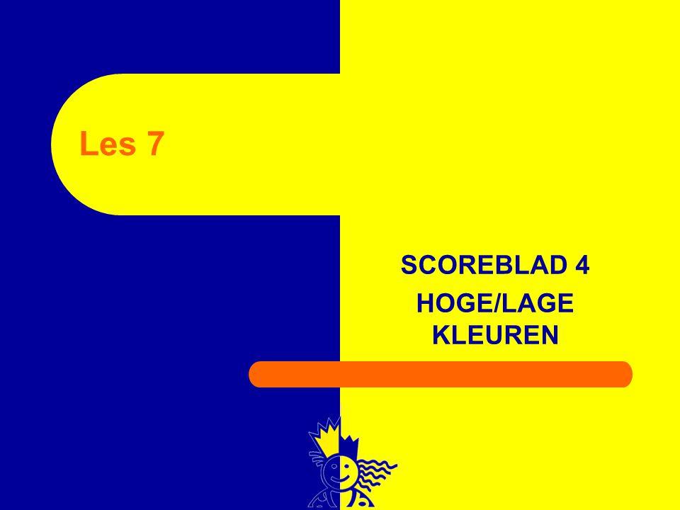 SCOREBLAD 4 HOGE/LAGE KLEUREN Les 7