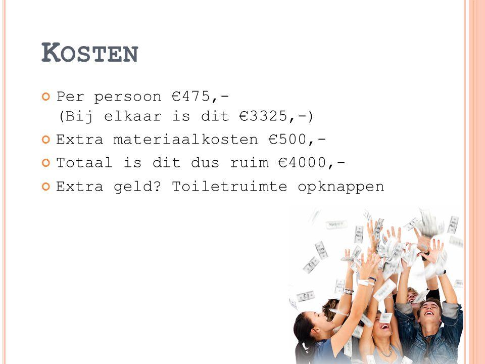 K OSTEN Per persoon €475,- (Bij elkaar is dit €3325,-) Extra materiaalkosten €500,- Totaal is dit dus ruim €4000,- Extra geld.