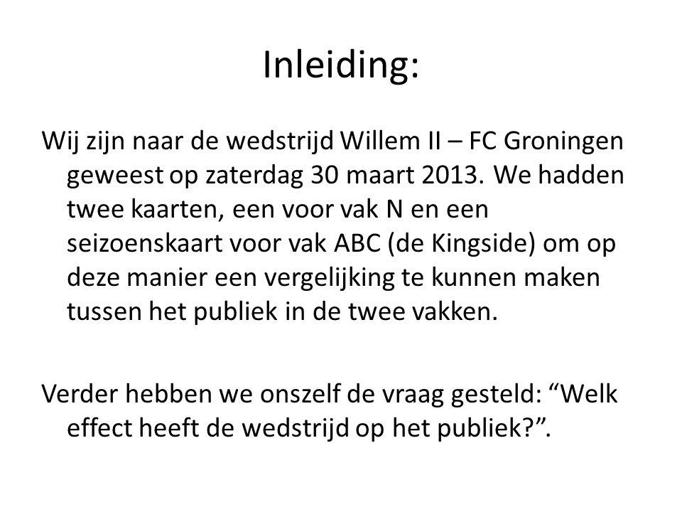 Inleiding: Wij zijn naar de wedstrijd Willem II – FC Groningen geweest op zaterdag 30 maart 2013. We hadden twee kaarten, een voor vak N en een seizoe